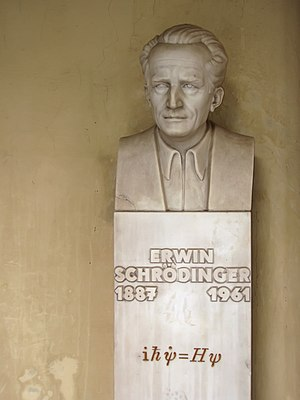 Erwin Schrödinger - Bust of Schrödinger, in the courtyard arcade of the main building, University of Vienna, Austria