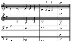 Leading-tone - Image: Escribano Lamentation, upper leading tone cadence