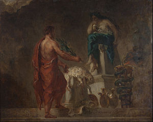 Pythia - Lycurgus Consulting the Pythia (1835/1845), as imagined by Eugène Delacroix.