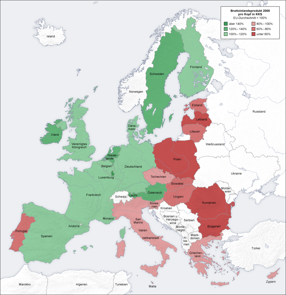 European union gdp map de