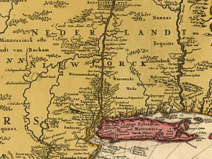 Wappinger - Image: Excerpt from Map Novi Belgii Novæque Angliæ (Amsterdam, 1685)