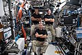 Expedition 64 crew members pose together inside the Destiny lab.jpg