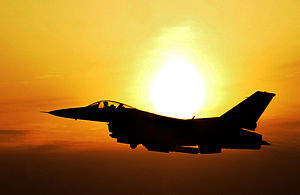 F-16 over South Korea in front of the sunset.jpg