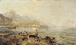 Gezicht op Amalfi aan de Golf van Salerno