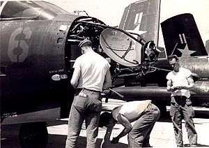 Douglas F3D Skyknight - Maintenance on an APQ-35 radar of an F3D-2 in Korea, 1953