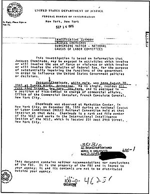 Jacques Cheminade - FBI document on Jacques Cheminade (1976).
