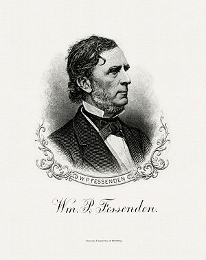 William P. Fessenden - Bureau of Engraving and Printing portrait of Fessenden as Secretary of the Treasury.