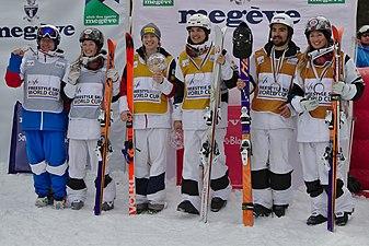 FIS Moguls World Cup 2015 Finals - Megève - 20150315 - A. Smyshlyaev, J. Dufour-Lapointe, H. Kearney, M. Kingsbury, P. Marquis et C. Dufour-Lapointe.jpg