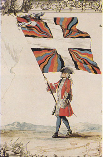 Flag of Switzerland - Depiction of a member of the Swiss Guard in France with a flammé flag, showing the French regimental white cross before a background of black, red, blue and yellow flame designs