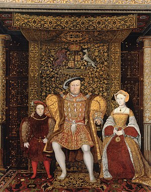 Tapestry - Henry VIII is seated beneath a tapestry cloth of state