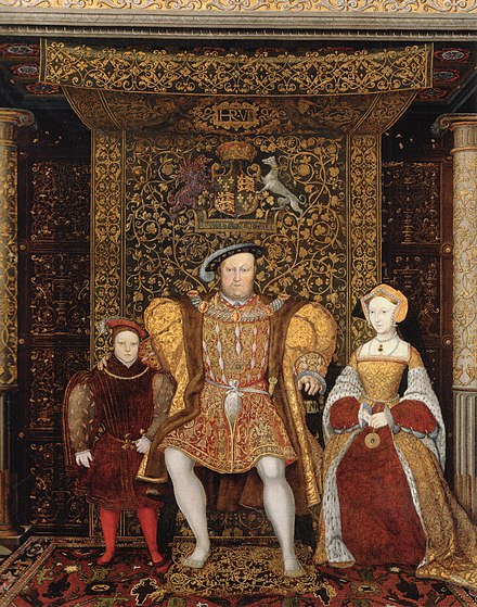 Jane Seymour (right) became Henry's third wife, pictured with Henry and the young Prince Edward, c. 1545, by an unknown artist. At the time that this was painted, Henry was married to his sixth wife, Catherine Parr. Family of Henry VIII c 1545 detail.jpg