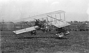 Louis Paulhan - Louis Paulhan at takeoff in a Farman III biplane at the 1910 Los Angeles International Air Meet at Dominguez Field.