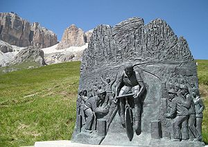 2002 Giro d'Italia - The statue of Fausto Coppi on the Pordoi Pass from which the Coppi in Cima Coppi is derived.