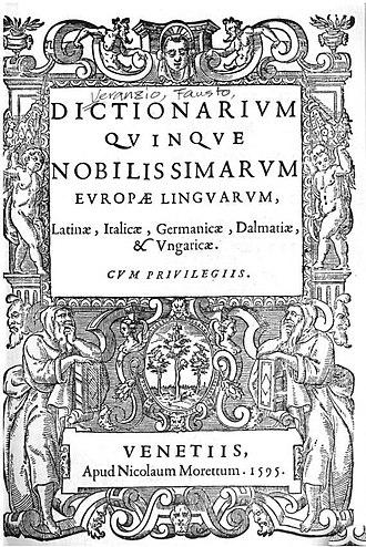 Fausto Veranzio - Frontespiece of the Dictionarium quinque lingarum