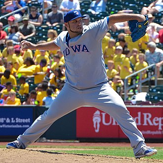 Felipe Paulino - Paulino pitching for the Iowa Cubs, Triple-A affiliate of the Chicago Cubs, in 2015