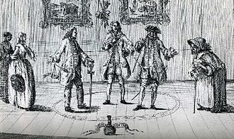 The Covent-Garden Journal - A depiction of the Paper War and its participants, from The Conjurers (1753), from right to left: Elizabeth Canning, Henry Fielding, Crisp Gascoyne, John Hill, and Mary Squires