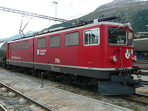 "Rhaetian Railway Ge 6/6 II - Ge 6/6 II 706 ""Disentis/Mustér"" on 24 September 2008 at Filisur."