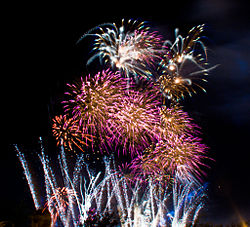 Fireworks over Monterrey, Nuevo Leon, Mexico on Universal Forum of Cultures Monterrey 2007