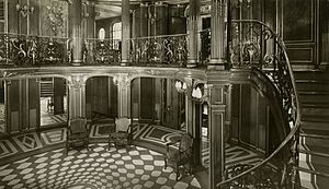 SS France (1910) - The First Class Grand Foyer and staircase of SS France