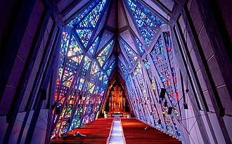 Downtown Stamford - Stained glass interior of the Fish Church.