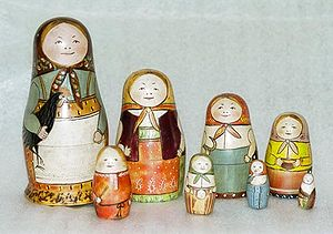 Recursion - Recursive dolls: the original set of Matryoshka dolls by Zvyozdochkin and Malyutin, 1892