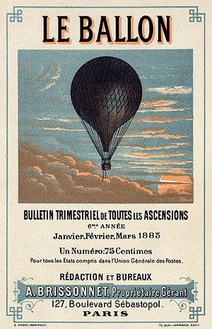 Poster artist - Image: Flickr …trialsanderrors Le Ballon, advertising for French aeronautical journal, ca. 1883