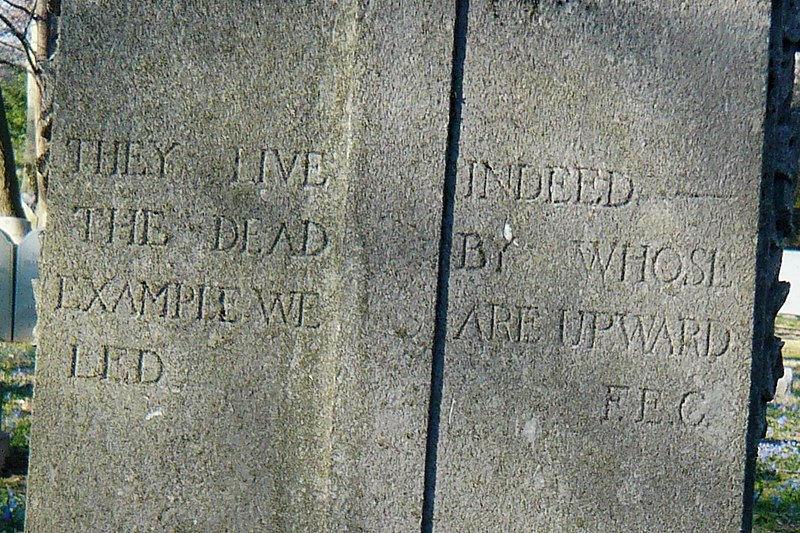 File:Florence Earle Coates gravestone, Church of the Redeemer Cemetery, Bryn Mawr 02.jpg