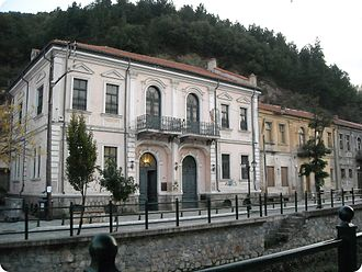Florina - Neoclassical houses at the shoreline of Sakoulevas river.