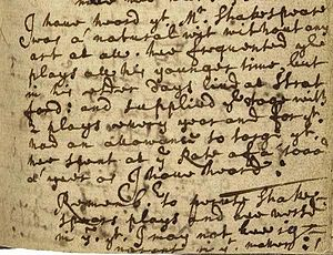 "John Ward (vicar) - Image of bottom half of page 140 of John Ward's diary, written c. 1662-1663, containing the passage beginning ""I have heard that Mr. Shakspeare was a natural wit..."". Folger Shakespeare Library V.a.292."