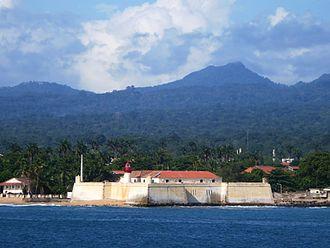 São Tomé - View of the São Sebastião Fortress with the island, the São Tomé Island Forest and the island/country's tallest summit
