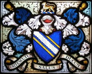 Faithful Fortescue - Image: Fortescue Heraldic Achievement 1878 Buckland Filleigh Church Devon