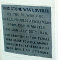 Foundation stone, Brecon Masonic Hall - geograph.org.uk - 2655876.jpg