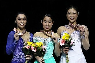 Gabrielle Daleman - Daleman (left) at the 2017 Four Continents podium