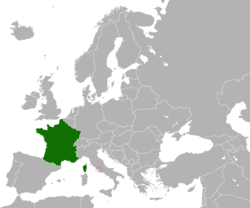 Map indicating locations of France and Holy See