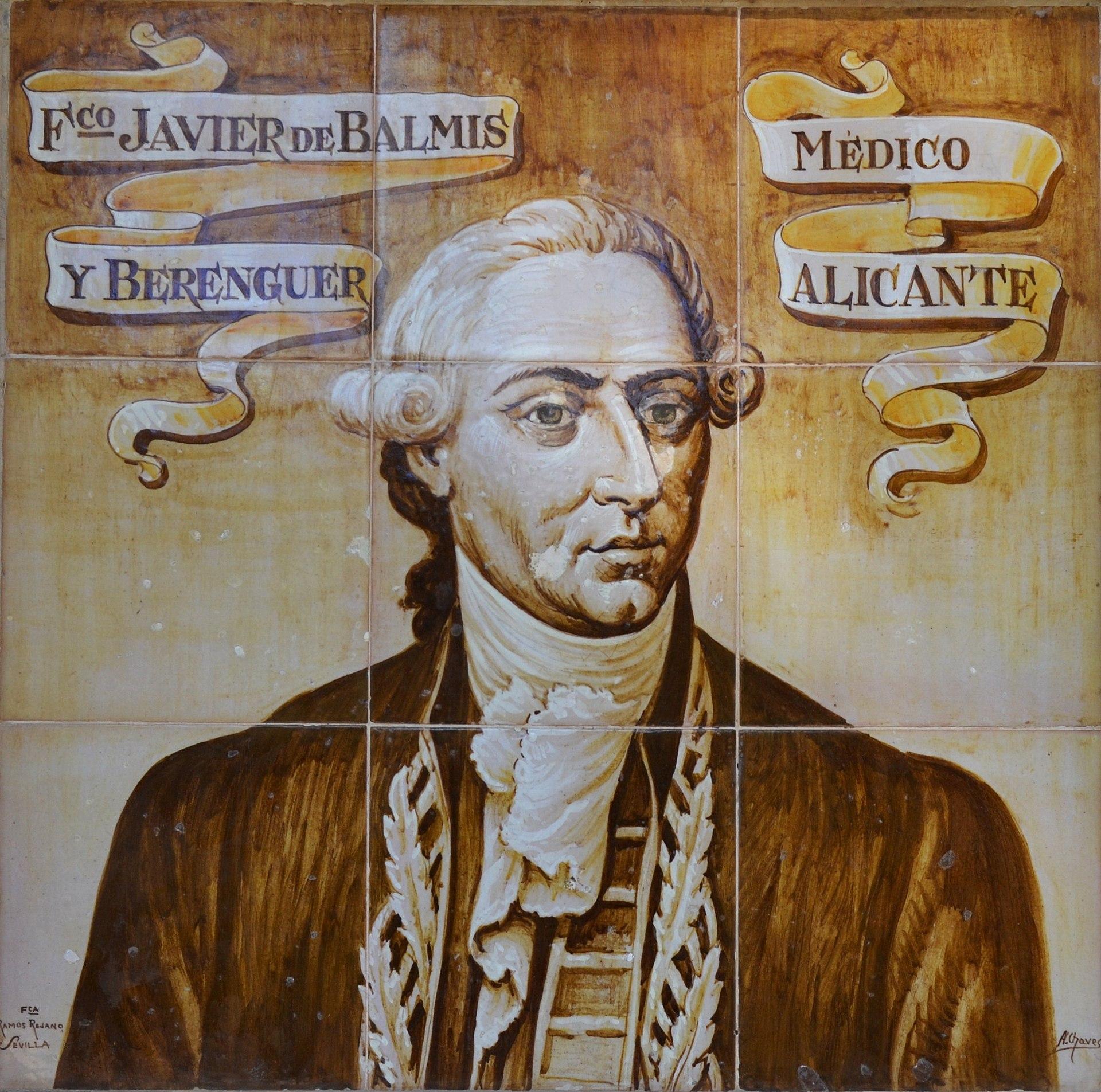 Francesc Xavier Balmis, plafó ceràmic a Alacant.JPG