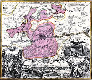 Landwehr (border) - The Frankfurt Landwehr around the city, between 1712 and 1714 (copperplate by Johann Baptist Homann, regional boundaries corrected by Friedrich Bothe)