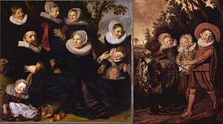 Portrait of a family in a landscape - left and right half together