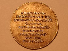 Silberabschlag vom 3/4 Dukat, Stadt Frankfurt, auf die Wahl Franz' 1792 (Quelle: Wikimedia)