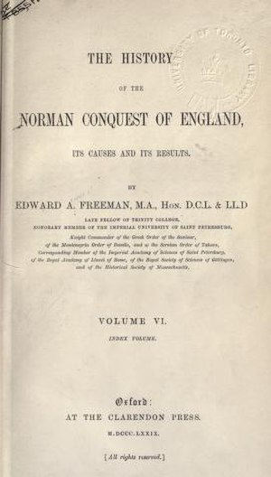 The History of the Norman Conquest of England - Title page of the first edition of the last volume