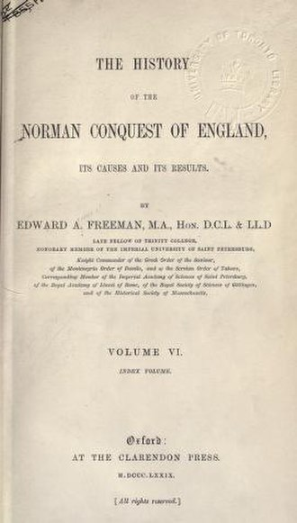 Edward Augustus Freeman - Title page of volume 6 of Freeman's History of the Norman Conquest