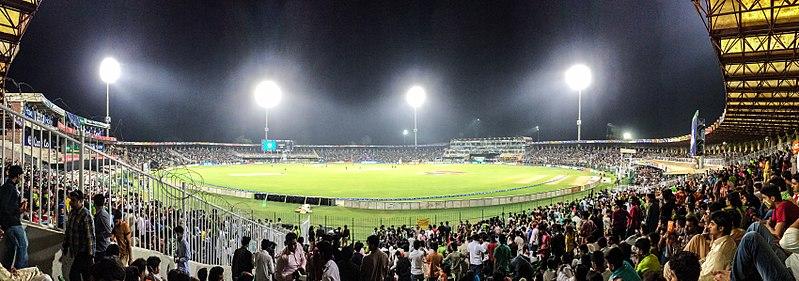 Gaddafi Stadium at Night.jpg