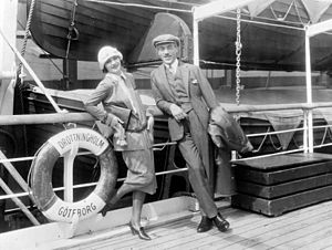 Mauritz Stiller - Greta Garbo and Stiller on board the S/S Drottningholm in 1925 en route to the United States