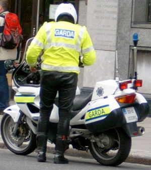 Garda Síochána - A member of the motorcycle unit of the Garda Síochána