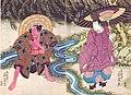 Gatōken Shunshi - (diptych) Sawamura Gennosuke II as Ono no Tofu (R) & Kataoka Ichizô I as Yakko no Daroku (L) in 'Ono no Tofu Aoyagi Suzuri'.jpg