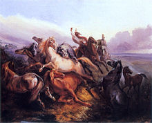 Painting depicting 2 mounted horsemen wearing tall hats riding toward a group of panicking wild horses