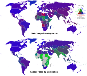 Industrialisation - 2006 GDP composition of sector and labour force by occupation. The green, red, and blue components of the colours of the countries represent the percentages for the agriculture, industry, and services sectors, respectively.