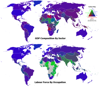 Industry - GDP composition of sector and labour force by occupation in the form of any component to economy. The green, red, and blue components of the colours of the countries represent the percentages for the agriculture, industry, and services sectors, respectively.