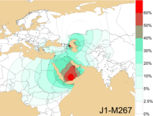 Geographical frequency distribution of Haplogroup J1-M267 (Y-DNA).png