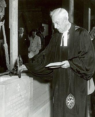 George C. Pidgeon - Pidgeon dedicates the cornerstone of the new Christian education wing of Royal York Road United Church, Toronto, Ontario, Canada, April 7, 1958