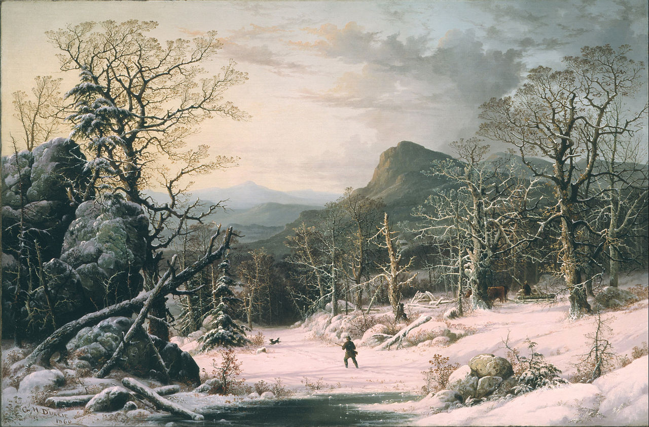 https://upload.wikimedia.org/wikipedia/commons/thumb/3/3d/George_Henry_Durrie_-_Hunter_in_Winter_Wood_-_Google_Art_Project.jpg/1280px-George_Henry_Durrie_-_Hunter_in_Winter_Wood_-_Google_Art_Project.jpg